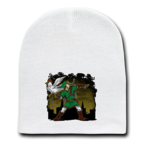 White Adult Beanie Skull Cap Hat - Cuckoo Thrower - Parody Design