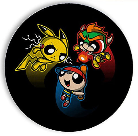 Ceramic Stone Coaster Coasters Set of Four - Super Puff Bros 4 - Parody Design