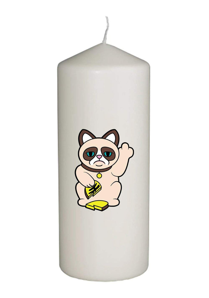 Grumpy Neko Unlucky Lucky Cat With Broken Coin Thick White in Full Color Unity Candle - Wedding, Baptism, Funeral, Special Event Decoration (6 inches tall)