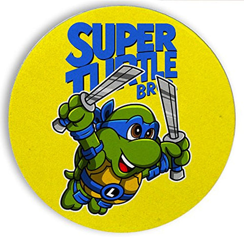 Ceramic Stone Coaster Coasters Set of Four - Super Turtle Bros Leo - Parody Design