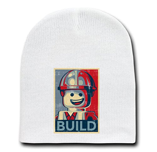White Adult Beanie Skull Cap Hat - Build Poster Style - Parody Design