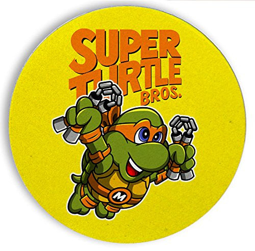 Ceramic Stone Coaster Coasters Set of Four - Super Turtle Bros Mikey - Parody Design