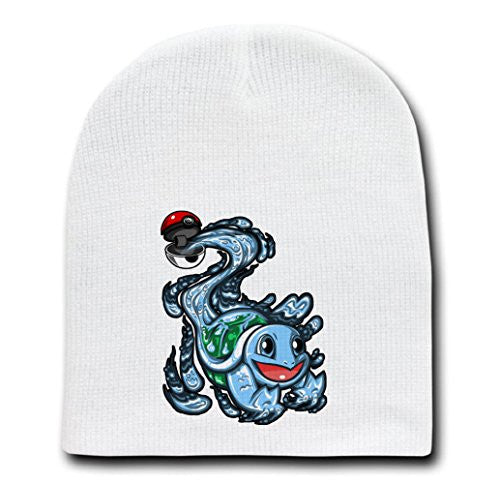 872eaeb8a8d29 White Adult Beanie Skull Cap Hat - Ball of Water - Parody Design ...