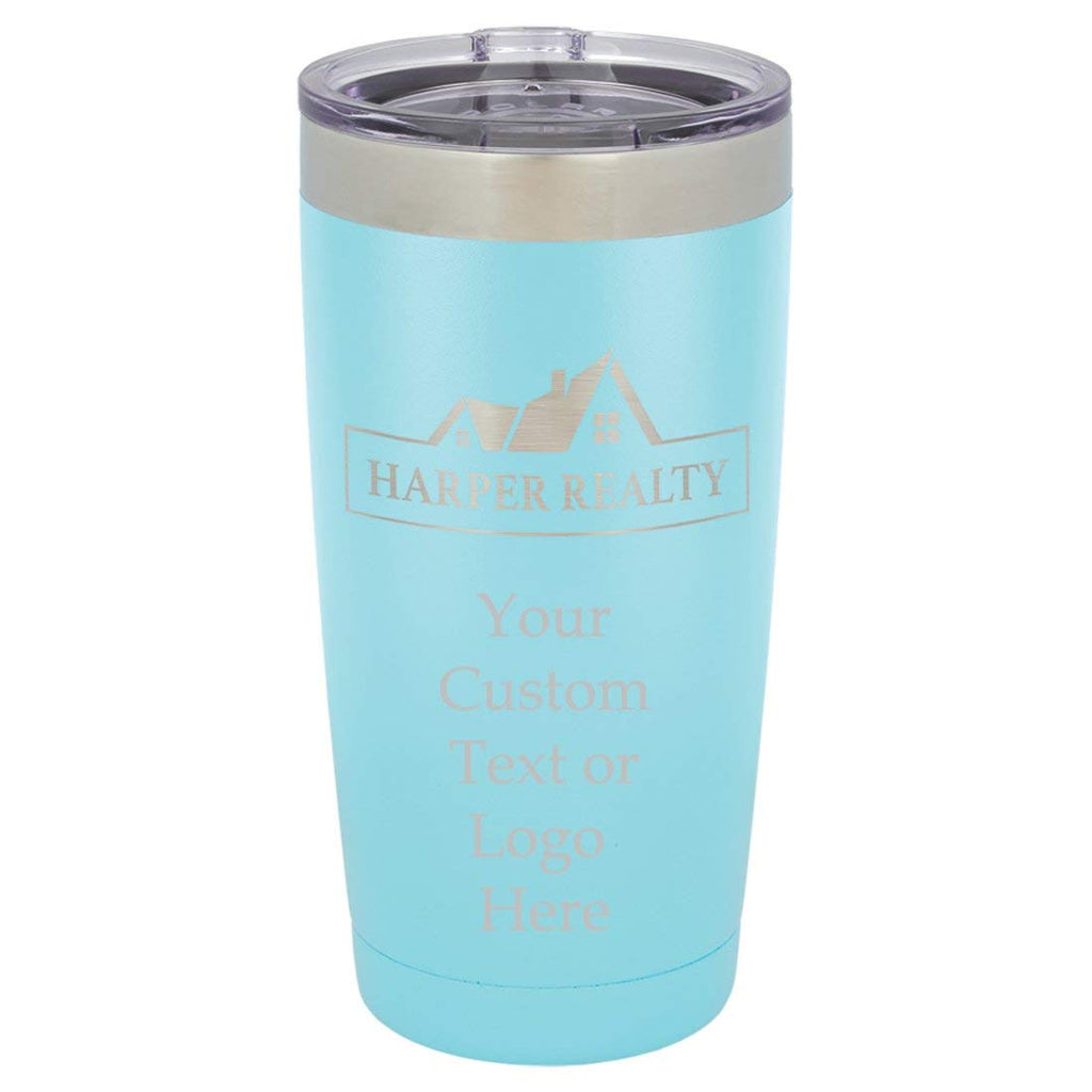 Customized 3D Laser Engraved Personalized Stainless Steel Travel Polar Camel Mug 20oz without Handle (Baby Blue)