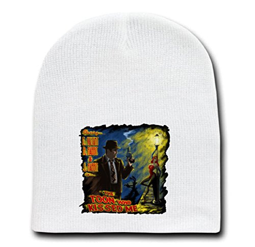 White Adult Beanie Skull Cap Hat - The Toon Who Kissed Me - Parody Design