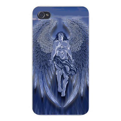 Apple iPhone Custom Case 4 4S White Plastic Snap On - Winged Man Angel Blue Design Artwork