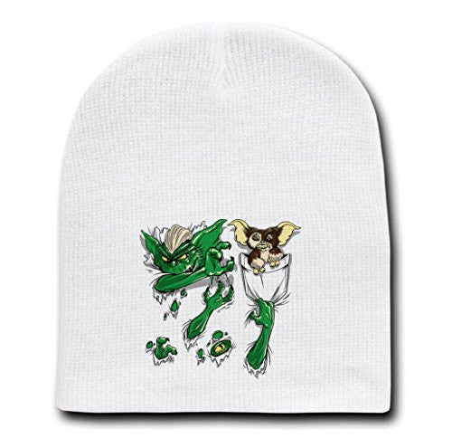 White Adult Beanie Skull Cap Hat - Don't Feed This After Midnight - Parody Design