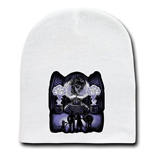 White Adult Beanie Skull Cap Hat - The Witch of Arendelle - Parody Design