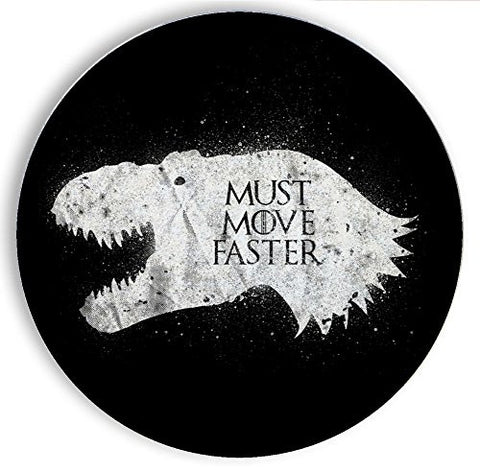 Ceramic Stone Coaster Coasters Set of Four - T-Rex is Coming - Parody Design