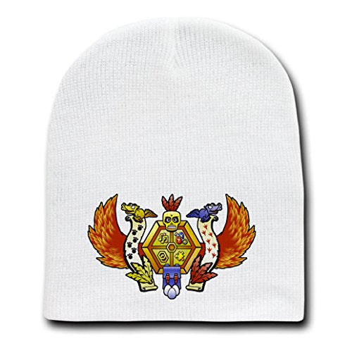 White Adult Beanie Skull Cap Hat - Treasure Hunter's Crest - Parody Design