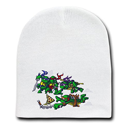 White Adult Beanie Skull Cap Hat - The Legend of Pizza - Parody Design