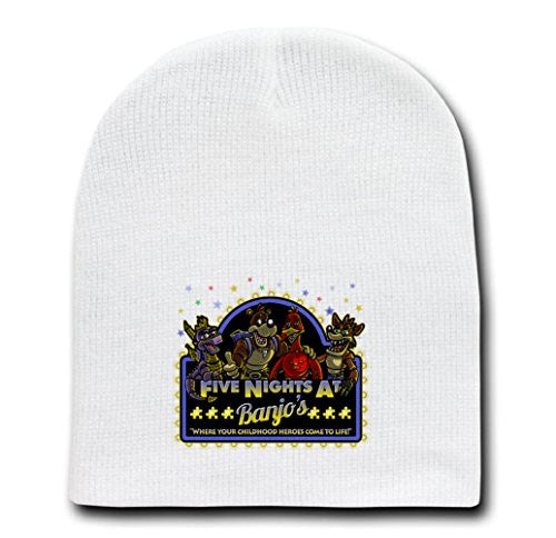 White Adult Beanie Skull Cap Hat - Five Nights at Banjo's - Parody Design