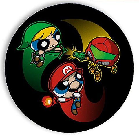 Ceramic Stone Coaster Coasters Set of Four - Super Puff Bros 1 - Parody Design