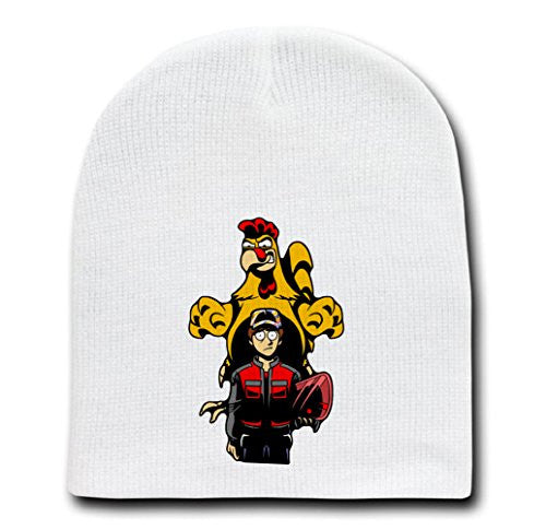 White Adult Beanie Skull Cap Hat - What's Wrong Time Traveler? - Parody Design