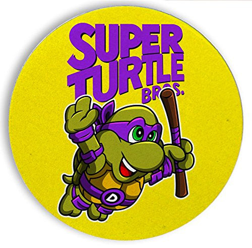 Ceramic Stone Coaster Coasters Set of Four - Super Turtle Bros Donnie - Parody Design
