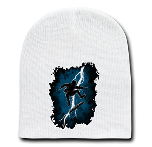 White Adult Beanie Skull Cap Hat - The Time Traveler Returns Hoverboard - Parody Design