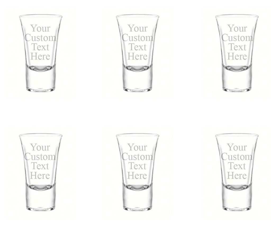 Personalized Set of 6 Custom Shot Glass Glasses (1.75oz) Free Engraving Groomsman and Bridesmaid Wedding Favor Gift