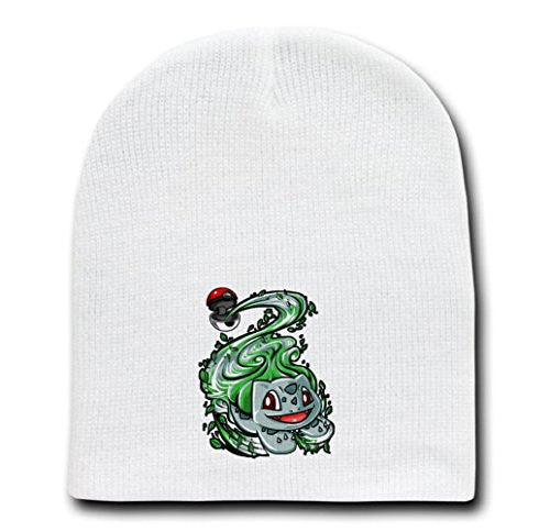 White Adult Beanie Skull Cap Hat - Ball of Leaves - Parody Design