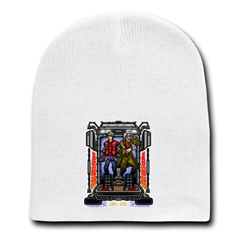 White Adult Beanie Skull Cap Hat - Friends In Time II - Parody Design