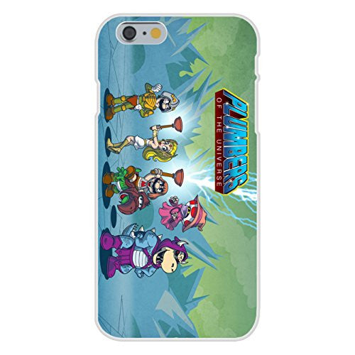 Apple iPhone 6 Custom Case White Plastic Snap On - 'Plumbers of the Universe' Funny Video Game & Cartoon Parody