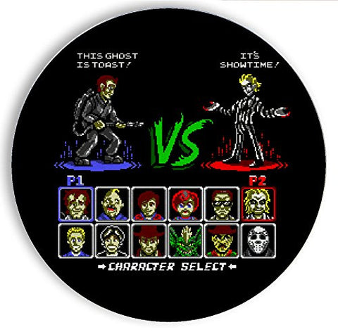 Ceramic Stone Coaster Coasters Set of Four - Super 80's Good Vs. Evil - Parody Design