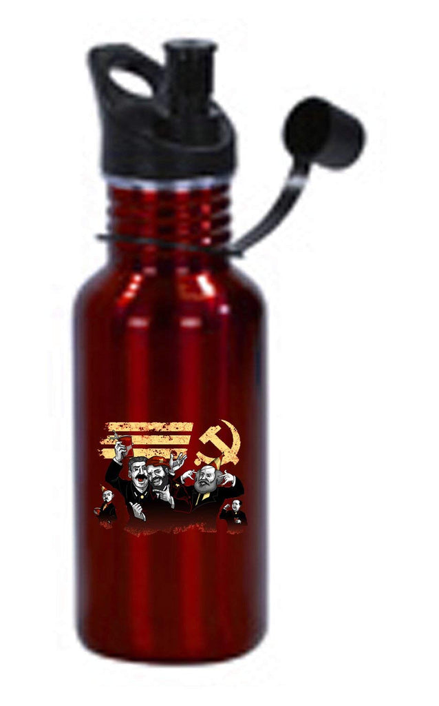 Hat Shark Communist Party Funny Pun Famous Communist Leaders Partying 3D Color Printed 17 oz Stainless Steel Water Bottle Red