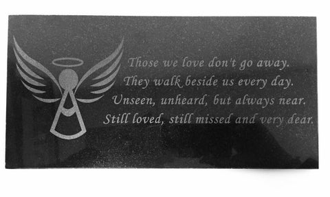 3D Laser Engraved Black Granite Stone Angel Memorial Marker 12 x 6 inches