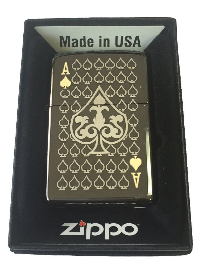 Zippo Custom Lighter - Ace of Spades Laser Engraved Black Ice 150-MP325885