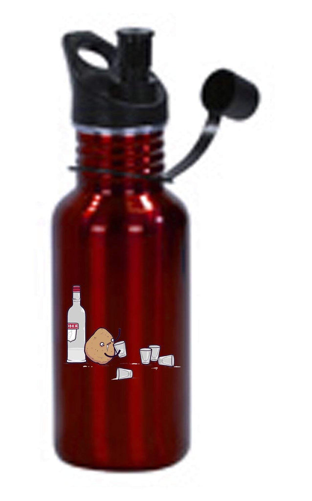 Hat Shark Vodka Potato Randy Otter Funny Humor 3D Color Printed 17 oz Stainless Steel Water Bottle Red