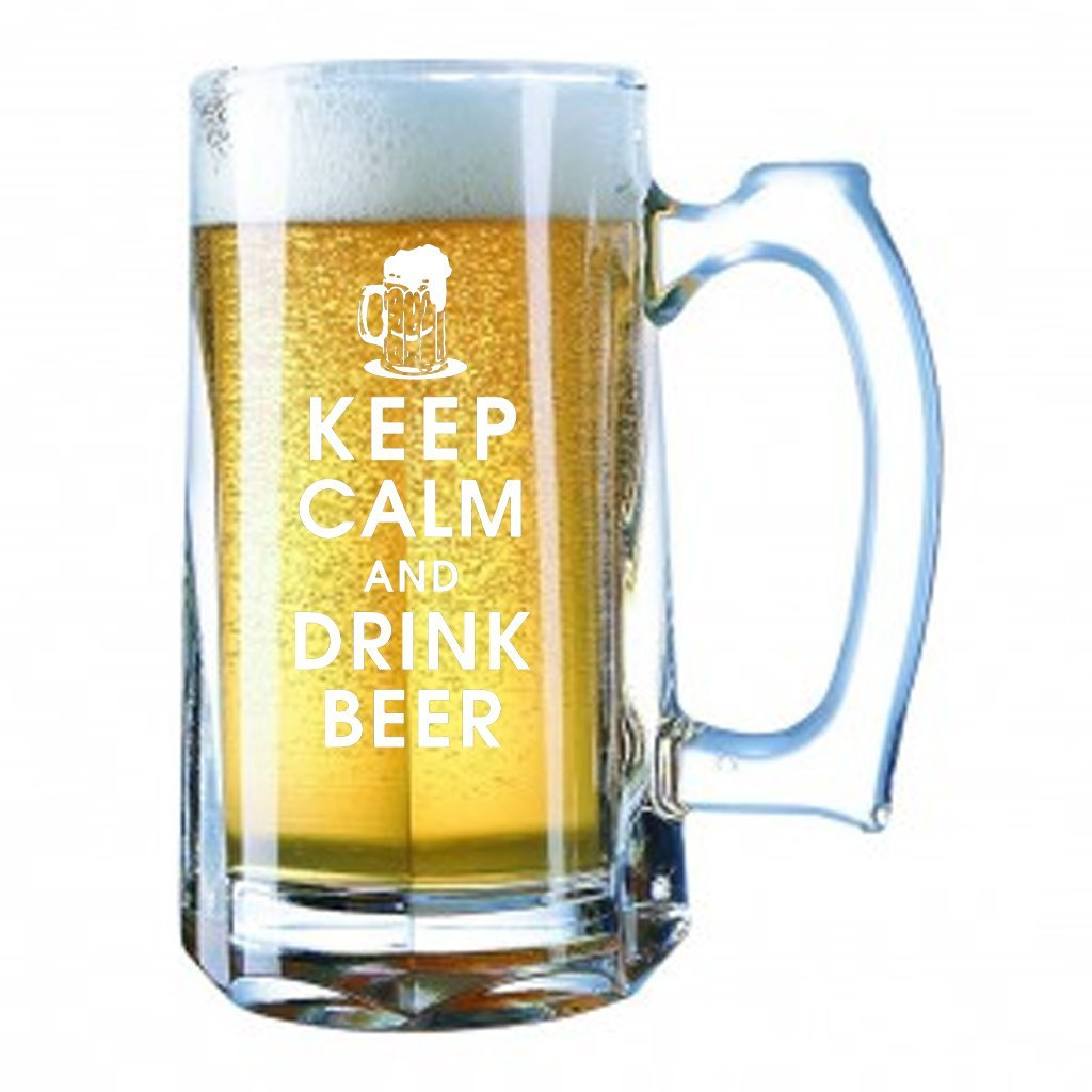 Giant Beer Mug 28 Ounces Personalized Beer Stein - KEEP CALM AND DRINK BEER