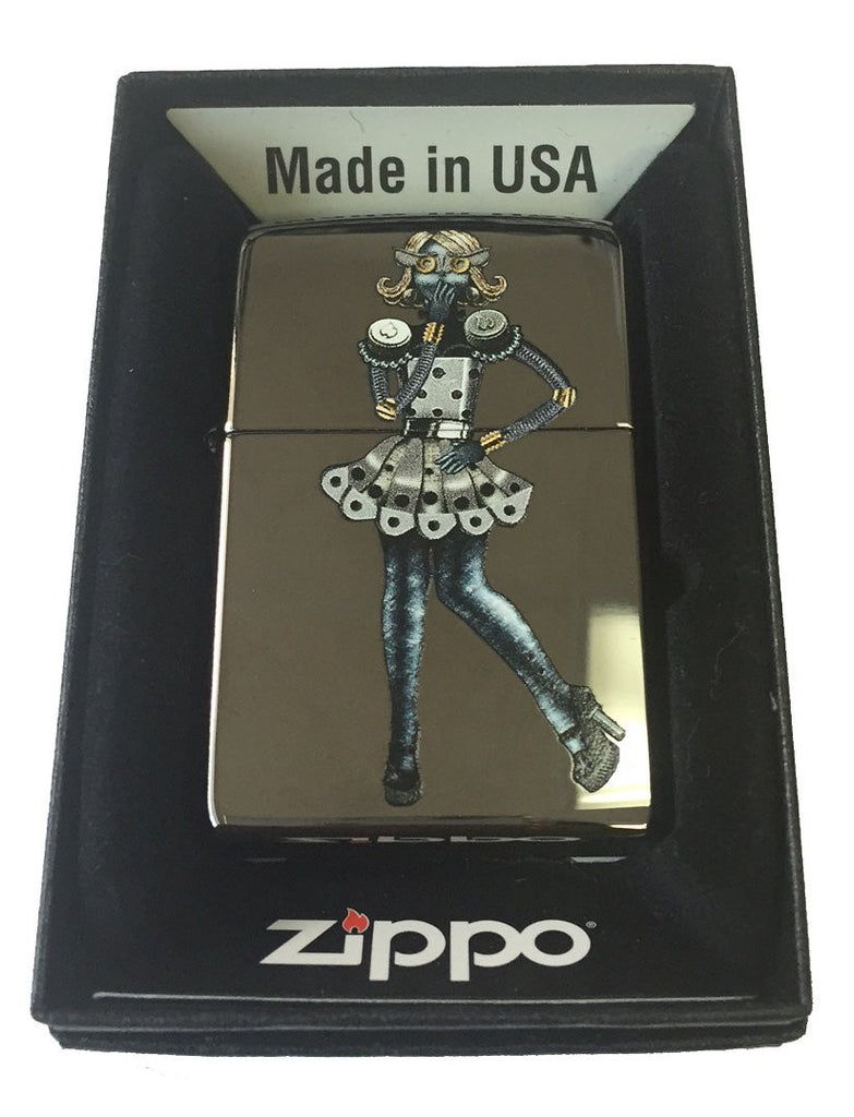 Zippo Custom Lighter - Steam Punk w/ Skirt and High Heel Shoes Black Ice 150-CI005185