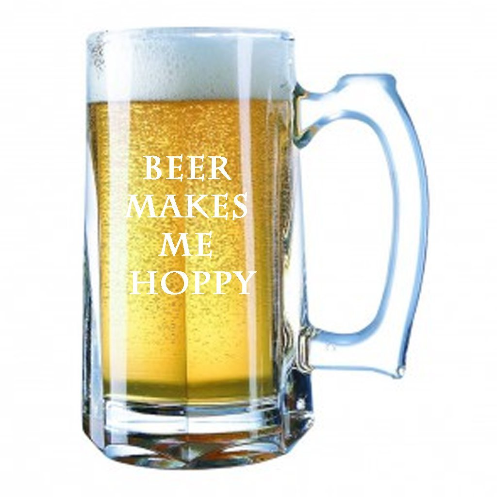 Giant Beer Mug 28 Ounces Personalized Beer Stein - Beer MAKES ME HOPPY FUNNY SLOGANGiant Beer Mug 28 Ounces Personalized Beer Stein - Beer MAKES ME HOPPY FUNNY SLOGAN