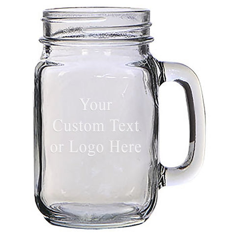 ANY TEXT, Custom Customized Engraved Etched for Wedding, Engagement Anniversary Bridal Party for Newlyweds 16 oz Mason Jar Glass Mug for Beer Tea - Personalized Laser Engraved Text Customizable Gift