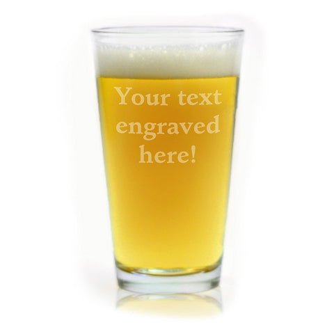 ANY TEXT, Custom Engraved Pint Glasses for Beer, 16 oz Stein - Personalized Laser Engraved Text Customizable Gift