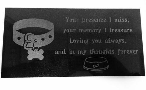3D Laser Engraved Black Granite Stone Dog Cat Pet Headstone Grave Marker Garden Plaque Memorial 12 x 6 inches (Collar)