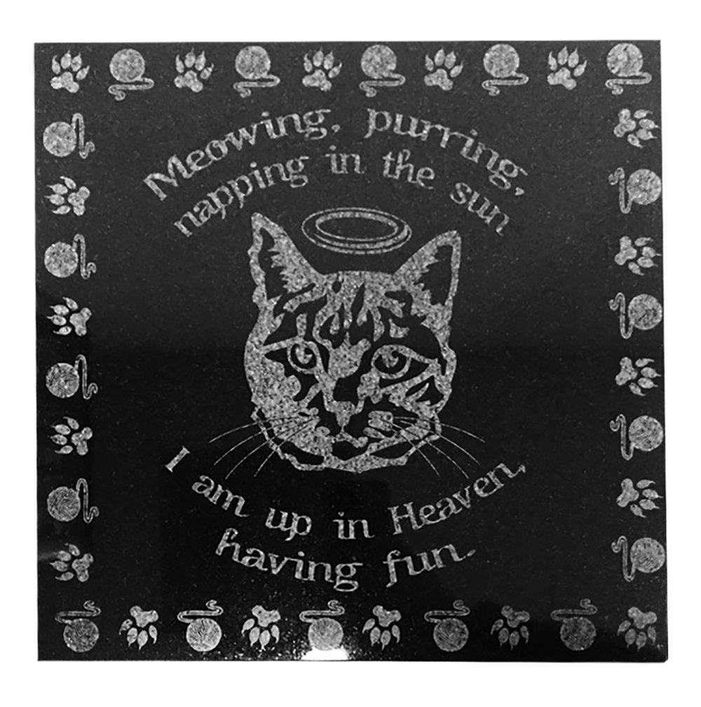 3D Laser Engraved Black Granite Stone Dog Cat Pet Headstone Grave Marker Garden Plaque Memorial 12 x 12 inches