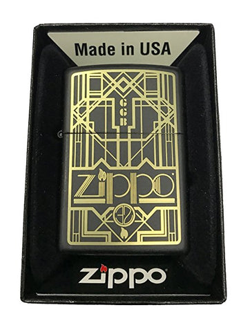Zippo Custom Lighter - Art Deco Flame & Initials Logo - Black Matte