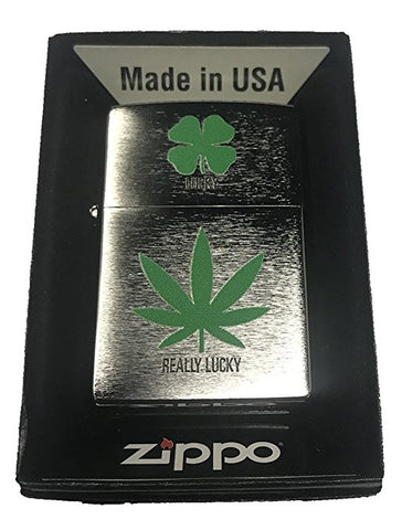 Zippo Custom Lighter - 4 Leaf Clover Lucky 7 Weed Pot Leaf Marijuana Really Lucky