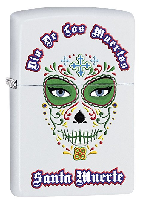 Zippo Custom Lighter: Day of the Dead, Santa Muerte - White Matte