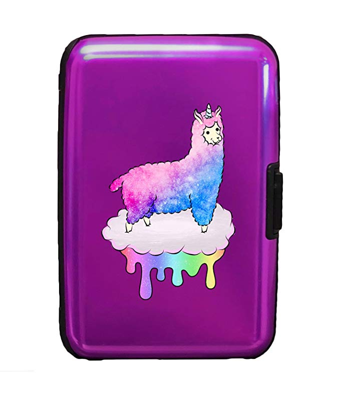 Mystical Fluffy Alpacacorn Standing Gallantly On a Rainbow Dripping Cloud - 3D Color Printed Purple Aluminum Hard Credit Card Wallet