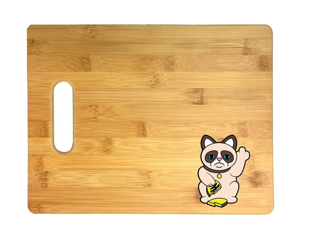 Grumpy Neko Unlucky Lucky Cat With Broken Coin 3D COLOR Printed Bamboo Cutting Board - Wedding, Housewarming, Anniversary, Birthday, Mother's Day, Gift