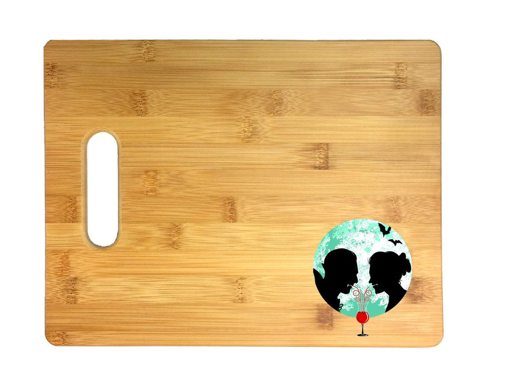 Bloody Couple Vampire Date Silhouettes w/Moon & Bats 3D COLOR Printed Bamboo Cutting Board - Wedding, Housewarming, Anniversary, Birthday, Mother's Day, Gift