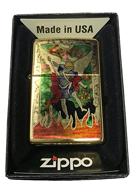 Zippo Custom Lighter - St Michael Archangel Fusion - High Polish Brass
