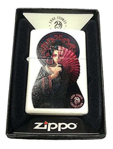 Zippo Custom Lighter - Ann Stokes Japanese Geisha w/ Fan - White Matte