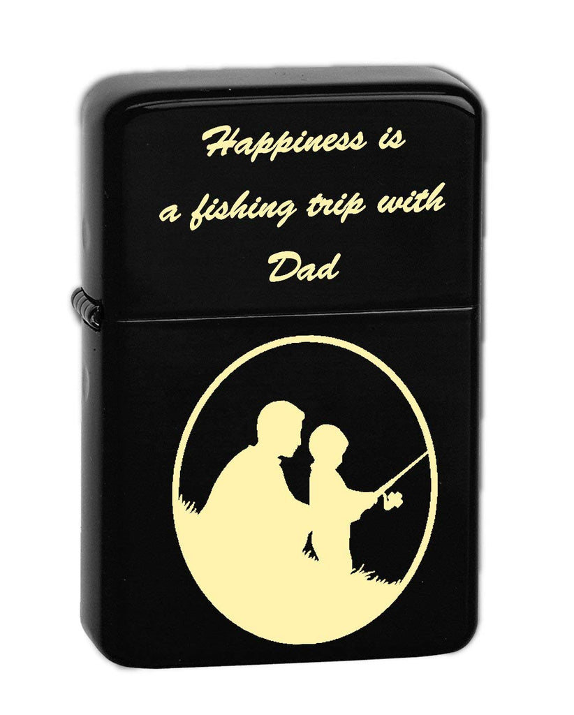 Father's Day Quotes for Dad Laser Engraved Vector KGM Thunderbird Vintage Lighter - Wedding, Groomsman, Father's Day, Birthday, Party, Gift - Multiple Designs (Fishing)