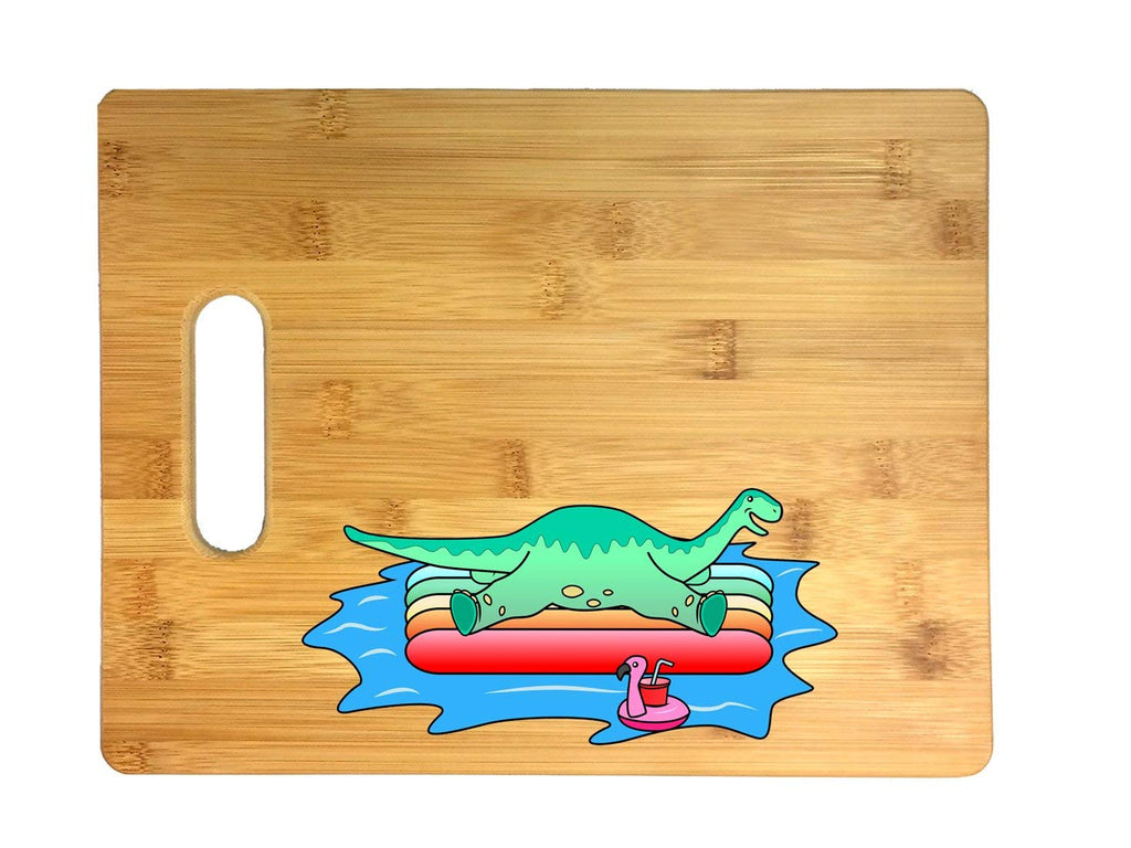 Brontosaurus Dinosaur On Floating Raft In the Ocean Fun Cute Graphic 3D COLOR Printed Bamboo Cutting Board - Wedding, Housewarming, Anniversary, Birthday, Mother's Day, Gift