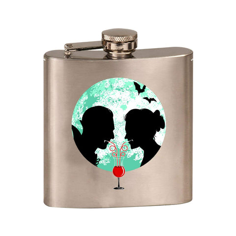 Bloody Couple Vampire Date Silhouettes w/Moon & Bats - 3D Color Printed 6 oz. Stainless Steel Flask (Steel Silver)