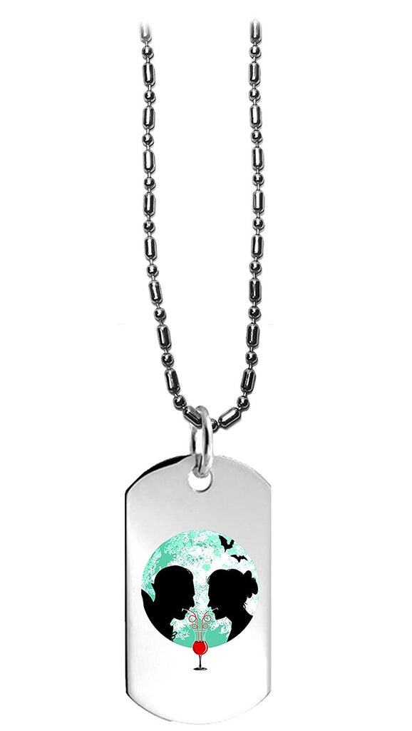 Bloody Couple Vampire Date Silhouettes w/Moon & Bats - 3D Color Printed Military Dog Tag, Luggage Tag Pendant Metal Chain Necklace