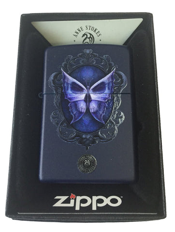 Zippo Custom Lighter - Ann Stokes Artist Skull Butterfly Mirror Design Navy Matte 239-CI401358