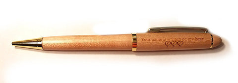 """Your Name is Written on My Heart"" Maple Classic Twist Ballpoint Pen - Valentine's Day Gift"